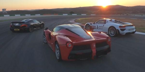 Video: McLaren P1 vs Ferrari LaFerrari vs Porsche 918 Spyder